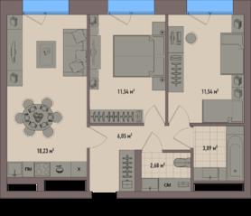 МФК «Зорге 9», планировка 2-комнатной квартиры, 53.39 м²
