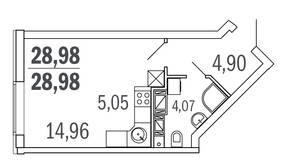 ЖК «Новое Ялагино», планировка студии, 28.98 м²