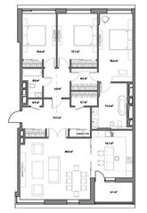 ЖК «Кверкус», планировка 4-комнатной квартиры, 155.85 м²