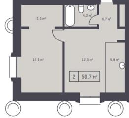 ЖК «Кутузовский XII», планировка 2-комнатной квартиры, 50.70 м²
