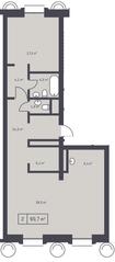 ЖК «Кутузовский XII», планировка 2-комнатной квартиры, 90.70 м²