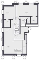 ЖК «Кутузовский XII», планировка 3-комнатной квартиры, 151.50 м²