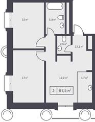 ЖК «Кутузовский XII», планировка 3-комнатной квартиры, 67.50 м²