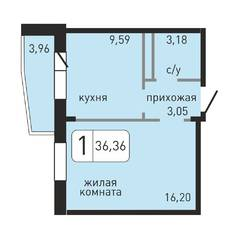 ЖК «Хлебникоff», планировка 1-комнатной квартиры, 36.36 м²