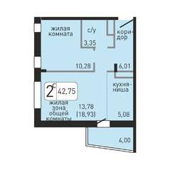 ЖК «Хлебникоff», планировка 2-комнатной квартиры, 42.75 м²