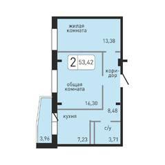 ЖК «Хлебникоff», планировка 2-комнатной квартиры, 53.42 м²