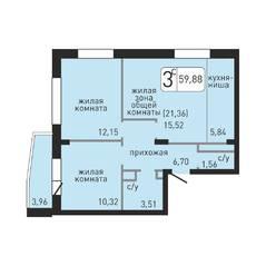 ЖК «Хлебникоff», планировка 3-комнатной квартиры, 59.88 м²
