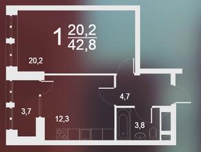 ЖК «Родной город. Воронцовский парк», планировка 1-комнатной квартиры, 42.80 м²