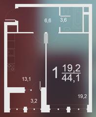 ЖК «Воронцовский парк», планировка 1-комнатной квартиры, 44.10 м²