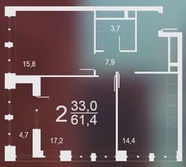 ЖК «Воронцовский парк», планировка 2-комнатной квартиры, 61.40 м²