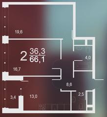 ЖК «Воронцовский парк», планировка 2-комнатной квартиры, 66.10 м²