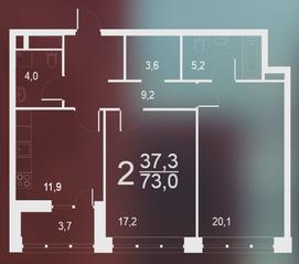 ЖК «Воронцовский парк», планировка 2-комнатной квартиры, 73.00 м²