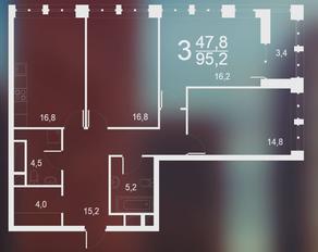 ЖК «Родной город. Воронцовский парк», планировка 3-комнатной квартиры, 95.20 м²