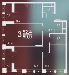 ЖК «Родной город. Воронцовский парк», планировка 3-комнатной квартиры, 89.90 м²