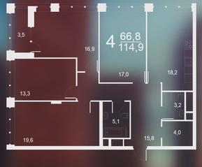 ЖК «Воронцовский парк», планировка 4-комнатной квартиры, 114.90 м²