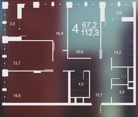 ЖК «Воронцовский парк», планировка 4-комнатной квартиры, 112.30 м²