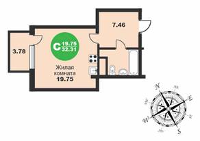 МЖК «Friday Village», планировка студии, 32.31 м²