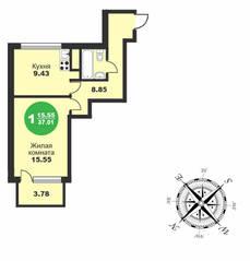МЖК «Friday Village», планировка 1-комнатной квартиры, 37.01 м²