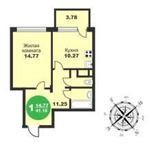 МЖК «Friday Village», планировка 1-комнатной квартиры, 41.15 м²