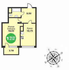 МЖК «Friday Village», планировка 1-комнатной квартиры, 43.91 м²