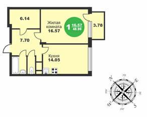 МЖК «Friday Village», планировка 1-комнатной квартиры, 48.90 м²