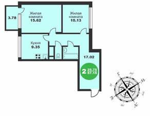 МЖК «Friday Village», планировка 2-комнатной квартиры, 57.15 м²