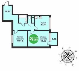 МЖК «Friday Village», планировка 2-комнатной квартиры, 54.90 м²