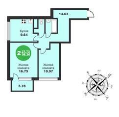 МЖК «Friday Village», планировка 2-комнатной квартиры, 56.26 м²