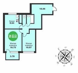 МЖК «Friday Village», планировка 2-комнатной квартиры, 60.69 м²