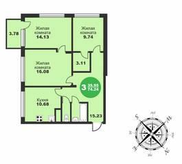 МЖК «Friday Village», планировка 3-комнатной квартиры, 74.24 м²