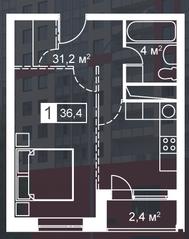 ЖК «Атмосфера» (Люблино), планировка 1-комнатной квартиры, 36.40 м²