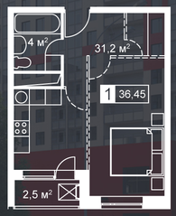ЖК «Атмосфера» (Люблино), планировка 1-комнатной квартиры, 36.45 м²