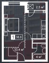 ЖК «Атмосфера» (Люблино), планировка 1-комнатной квартиры, 38.60 м²