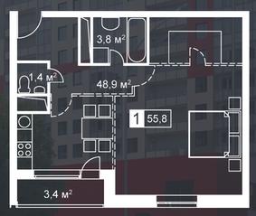 ЖК «Атмосфера» (Люблино), планировка 1-комнатной квартиры, 55.80 м²
