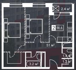 ЖК «Атмосфера» (Люблино), планировка 2-комнатной квартиры, 56.80 м²