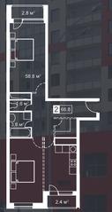 ЖК «Атмосфера» (Люблино), планировка 2-комнатной квартиры, 66.80 м²