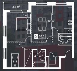 ЖК «Атмосфера» (Люблино), планировка 3-комнатной квартиры, 76.60 м²