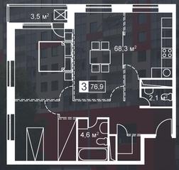ЖК «Атмосфера» (Люблино), планировка 3-комнатной квартиры, 76.90 м²