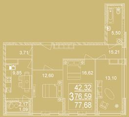 ЖК «Дуэт», планировка 3-комнатной квартиры, 77.68 м²