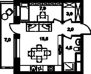 МФК «Клубный дом на Менжинского», планировка 2-комнатной квартиры, 35.10 м²