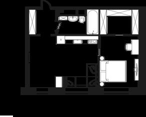 МФК «Клубный дом на Менжинского», планировка 2-комнатной квартиры, 47.60 м²