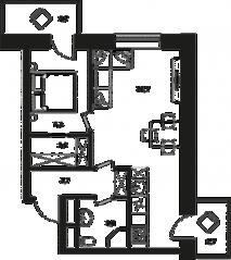 МФК «Клубный дом на Менжинского», планировка 2-комнатной квартиры, 44.10 м²