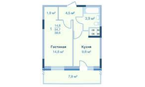 ЖК «Коптево Park», планировка 1-комнатной квартиры, 38.60 м²