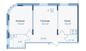 ЖК «Коптево Park», планировка 2-комнатной квартиры, 75.20 м²