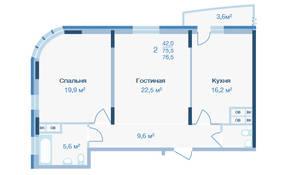 ЖК «Коптево Park», планировка 2-комнатной квартиры, 76.50 м²