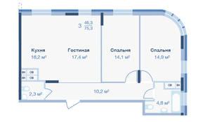 ЖК «Коптево Park», планировка 3-комнатной квартиры, 75.30 м²