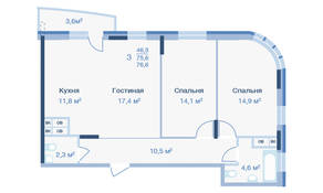 ЖК «Коптево Park», планировка 3-комнатной квартиры, 76.60 м²