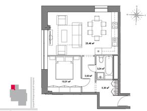 МФК «Monodom», планировка 1-комнатной квартиры, 49.70 м²