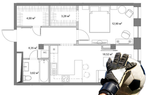 МФК «Monodom», планировка 1-комнатной квартиры, 53.40 м²