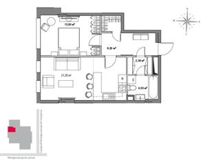 МФК «Monodom», планировка 1-комнатной квартиры, 52.30 м²